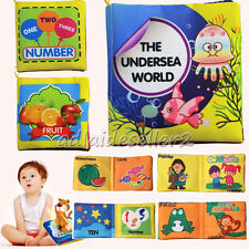 UK Soft Fabric Baby Children Intelligence Development Squeaky Picture Cloth Book