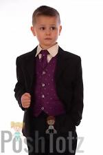 Baby Boys Suits,Wedding, Formal,Pageboy 5pc Purple & Black Suit (0-3mths-15yrs)