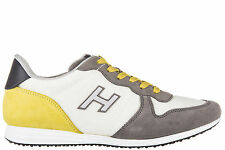 HOGAN MEN'S SHOES SUEDE TRAINERS SNEAKERS NEW H205 OLYMPIA H FLOCK GREY CFF