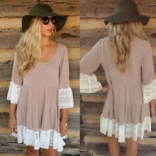 Stylish Womens Loose Short Sleeve Shirt Floral Tunic Tops Blouse Lace Mini Dress