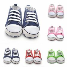 Infant Baby Boy Girl Crib Shoes  Lace Up Cotton Cloth Sneaker Shoes 0-18 Months