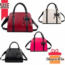 Bow Women Purse PU Leather Handbag Messenger Shoulder Bag Tote Satchel Patchwork