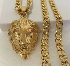 new men's Gold Stainless Steel Cuban Curb Chain Necklace Lion Head Pendant+chain