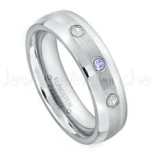 0.21ctw Tanzanite & Diamond 3-Stone Ring, December Birthstone,Tungsten Ring #006