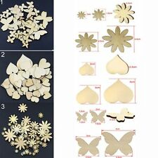 50Pcs  Sizes Fitted Sewing Buttons Flower Butterfly Heart Scrapbooking Wood