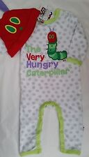 THE VERY HUNGRY CATERPILLAR Licensed romper coverall cotton /hat spot NEW 00-1