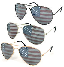 1 or 3 Pair(s) American USA Flag Aviator Sunglasses FREE Pouches UV Protection