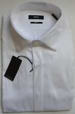NWT Hugo Boss Black Sharp Fit French Cuffs Dress Tuxedo Shirt In White