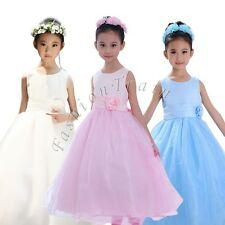 Pageant Flower Party Wedding Bridesmaid Princess Formal Ball Gown Girl Kid Dress