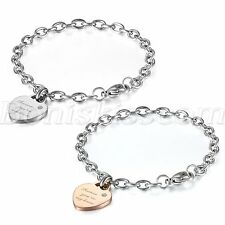 """forever you're my lover"" Womens Stainless Steel Heart Charm Chain Link Bracelet"