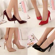 Womens/Ladies Sexy Pointy toe Faux patent leather Stiletto heel Pumps Shoes new