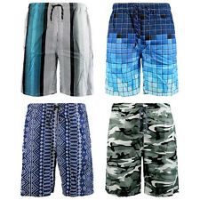 Mens Boys Patterned Swim Beach Summer Elasticated Waist Long Shorts Size S-XL