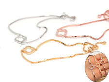 Silver Gold tone Flower shaped with bar Adjustable Tennis link chain Bracelet