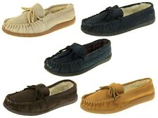 Mens Brown Navy Lodgemok Suede Wool Lined Moccasin Slippers Sizes 7 8 9 10 11 12