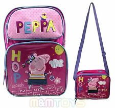 New Peppa Pig School Backpack, Lunch Bag Kit for Kids