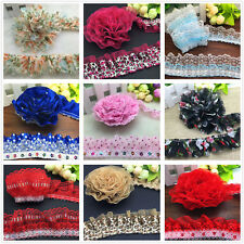 DIY 1/3/5 yards Organza Lace Gathered Pleated Sequined Trim 40mm 45mm 50mm 55mm