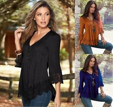 Sexy Long Sleeve Loose Cotton Casual Fashion Shirt Women Top T-Shirt Blouse Lace