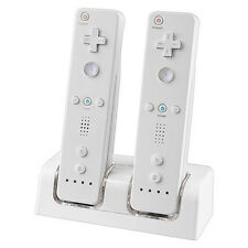 Dual Remote Charger Charging Dock Station and 2 Rechargeable Batteries For Wii