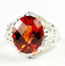 Created Padparadsha Sapphire, 925 Sterling Silver Ladies Ring, SR114-Handmade