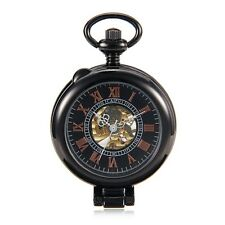 Black Steampunk Roman Number Mens Hand Wind Mechanical Pocket Watch w/Chain Gift