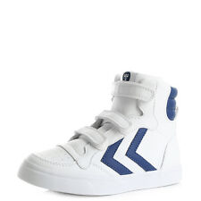 Kids Boys Hummel Stadil Hiigh Top Limoges Blue White Leather Trainers Sz Size
