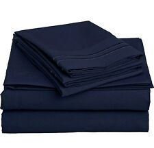LUXURIOUS 2 LINE EMBROIDERED 4 PC BEDROOM SHEET SET, KING QUEEN TWIN FULL, NAVY