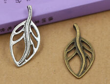8/30/150pcs Antique Silver Hollow leaves Jewelry Charms Pendant DIY 37x17mm
