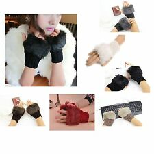 NEW! One Pair Warm Winter Ladies Fingerless Fur Wrist Knitted Wool Mitten Gloves