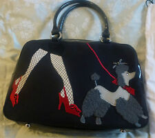 Lulu Guinness rare`Walking the Dog` medium bag. Patent leather base and straps.