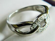 NEW Sterling Silver Ladies Clear CZ Chain Ring Sizes  J, K, M, N, Q, S, U