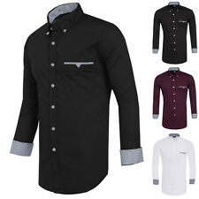 Stylish Smart Mens Slim Fit Long Sleeve Shirts Casual Dress Shirts Men's Tops