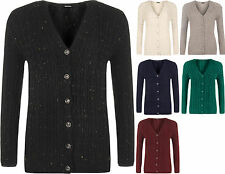 New Plus Size Womens Long Sleeve V-Neck Cable Knit Button Top Ladies Cardigan