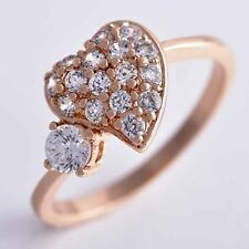Classic Rose Gold Plated Clear Crystal Engagement Wedding Heart Ring,SZ6 7 8