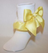 Girls Stretch Cotton Nylon Socks with Yellow Satin Ribbon Ruffle & Bows Bailey