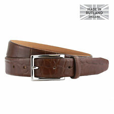 Mens Italian embossed Genuine Leather Formal Belt, Made in England, 3cm strap