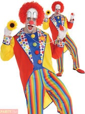 Mens Clown Suit Adults Circus Fancy Dress Costume Colourful Halloween Outfit