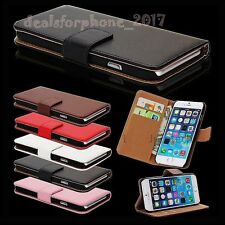 Real Leather Wallet Flip Case Cover for New Apple iPhone + Free Tempered Glass
