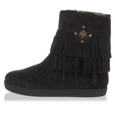 TORY BURCH New Woman Brown Leather Fur Fur Fringes Boots Shoes NWT