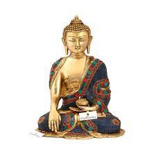 CraftVatika Large Buddha Brass Statue - Earth Touching Blue Stone Buddhism Tibet