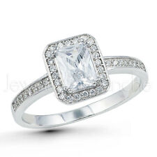 Halo Solitaire Emerald Cut CZ Ring, Rhodium Plated .925 Sterling Silver Ring