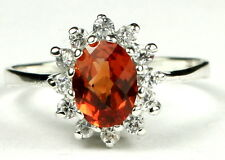 Created Padparadsha Sapphire,, 925 Sterling Silver Ladies Ring, SR235-Handmade