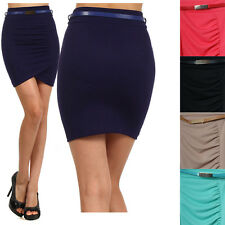 Women High Waist Stretch Pencil Straight Front Ruched Belted Stretch Mini Skirt
