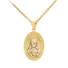 """14k Yellow Gold """"Sacred Heart Of Jesus Have Mercy On Us"""" Medium Pendant Necklace"""