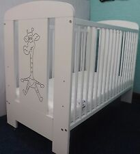 Sale Solid Wood Baby Giraffe Cot + Deluxe Cot Mattress -3 Position Base Height