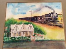 1973 Amateur Watercolor Painting Eisenhower Birthplace & MKT Train Denison TX