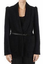 CHLOE New Woman Blue Velvet Single Breasted Blazer Pockets Belt NWT