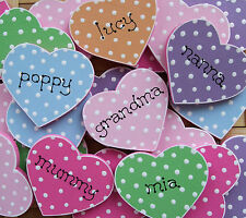 PERSONALISED POLKA DOT HEART MAGNET .. ANY NAME OR WORDING .. SO SHABBY CHIC