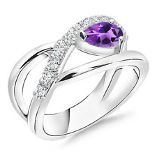 Criss Cross Pear Shaped Natural Amethyst Ring with Diamond Accents 14k Gold