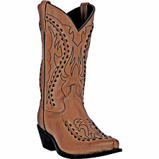 Laredo Mens Tan Laramie Goat Leather Cowboy Boots Bucklace 12in