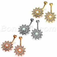 Charm Stainless Steel Inlay Flower Shape Navel Ring Nails Body Piercing Jewelry
